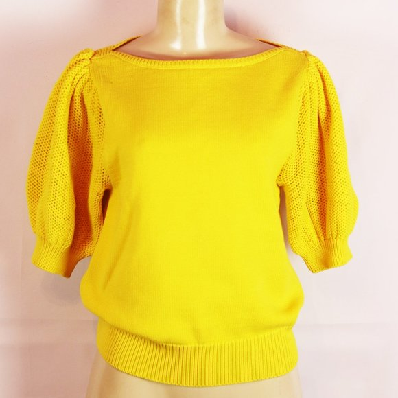 ANN TAYLOR BRIGHT YELLOW PUFF SLEEVE SWEATER MED